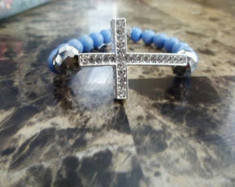 Women's Light Blue Cross bracelet