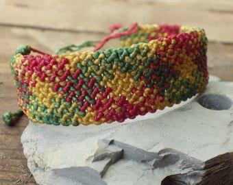 Red/yellow/green macrame bracelet