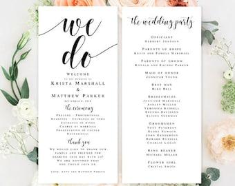 Printable wedding program Template download Editable wedding program We do wedding Programs for wedding Rustic wedding program template