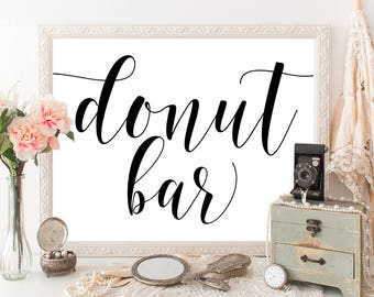 Donut bar sign Wedding donut stand Donut birthday party Donut baby shower Donut party decorations Donut printable Donut party favors #vm31