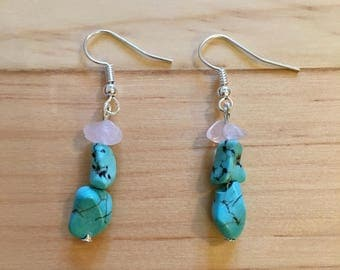 Genuine Turquoise and Rose Quartz Crystal Dangle Drop Silver Earrings