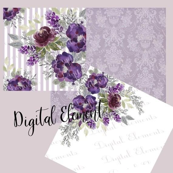 Lavender Digital Paper, Lilac Wedding Paper, Floral