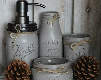 Custom color 4pc. Mason Jar Bathroom Set Custom Color - makeup organizer - rustic bathroom - country wedding - cabin decor