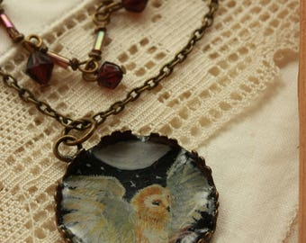 barn owl pendant owl necklace hand drawn pendant watercolor jewelry double necklace barn owl jewelry bird lover gift full moon necklace bird
