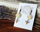 Honey Bee Earrings | Bee Earrings, Bee Lover Gift, Beekeeping, Nature Lover Gift, Bee Jewelry, Save The Bees, Bee Art, Nature Jewelry, Bees
