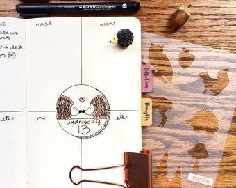 """Woodland Animals Stencil - Planner Stencil, fits Leuchtturm and Moleskine 5"""" by 7"""""""