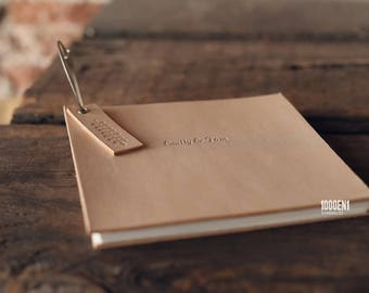 Guest book - naturel leather - marriage advice - alternative guest book - personalized with letterpress