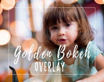 Golden Bokeh Light Overlay for Photoshop