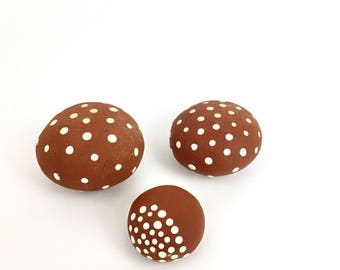 Clay Rattel - Handmade ceramics rattel with white dots - Ceramic ball + Rattle