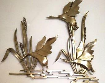 Mid-Century Brass Wall Art Flying Ducks / Geese, 1960s