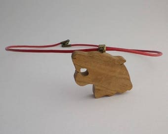 Panther in oak and red leather pendant