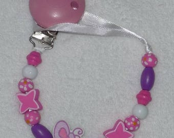Pacifier clip-pacifier wooden PINK BUTTERFLY