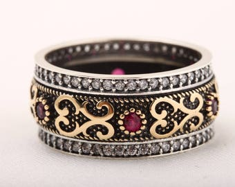 Authentic Sultan! Turkish Handmade Jewelry Ruby Topaz 925 Sterling Silver Ring Size 6