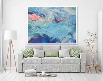"Modern Art, Fine Art, Large wall art, Aqua, Blue and PinkGiclee print of painting by ciara.resinart ""Finley"""