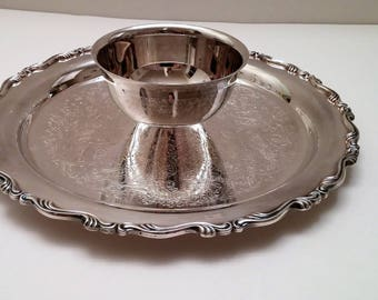 Oneida Georgian Scroll Silver Plate Chip and Dip Plate
