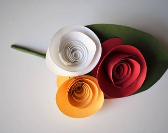 Red and Gold Paper Flower Wedding Boutonniere