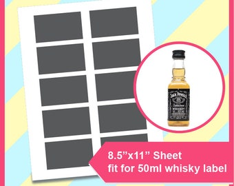 """Instant Download, mini whisky bottle label template 50ml,  PSD, PNG and SVG, Dxf Formats,  8.5x11"""" sheet,  Printable 226"""