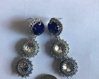 Earrings with camomile in Peyote