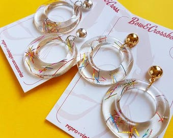 Amelia lucite confetti hoop earrings - Multi clear