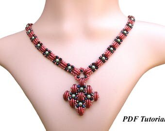 "Necklace Pattern, Beading Tutorial, Crescent Beads Tutorial, Beadweaving Pattern, Jewelry Tutorial, ""Morocco"" Necklace"