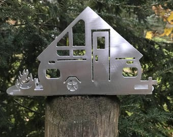 A-Frame Silhouette Camper Tea Light Holder, A frame camper, Camper, Happy Camper, A frame, Camping Life, Camp Fire, Camping, Camping World