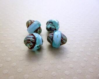 Set of 4 bead turbine Picasso Aqua 11 x 10 mm - CBT11 0830