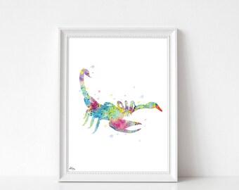 Scorpio illustration, painting watercolor, art print, Fine Art, Joy, modern decor, art print multicolor artist paper