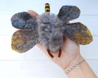 Needle Felt Moth, Felted Moth, Wool Sculpture, 3D Fibre Art, Fiber Art, Felted Insect, Garden Moth, Moth Sculpture, Needle Felted, Wet Felt