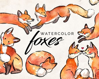 Cute Watercolor Fox Clipart - INSTANT DOWNLOAD - High Res, PNG, Printable and Cute! For nurseries and baby showers