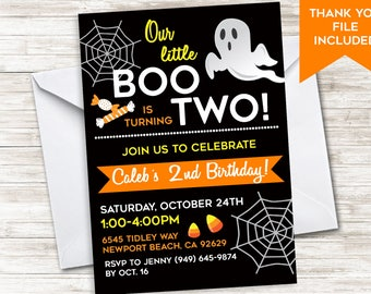Halloween Birthday 2nd Invite INVITATION Little Boo Digital 5x7 Kids Second Personalized ANY AGE