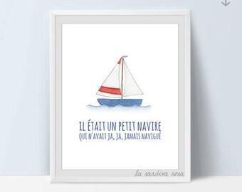 Nautical nursery art, Baby room wall art, Watercolor boat, Nautical theme decor, Ocean nursery, Nautical printable wall art #0034B