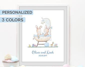 Twins gift, Baby shower print, Twins nursery, Bunny wall art, personalized gift, custom name print, birth stats
