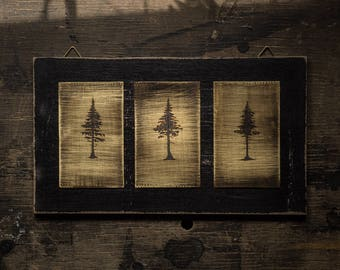 Triple tree, three by hand on brass oxidized trees in the used - vintage look