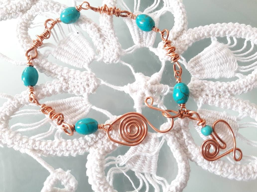 Copper wire jewelry | Beaded Turquoise bracelet | Wire wrapped link ...