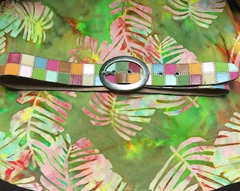 1990's Multicolored Leather Fossil Belt