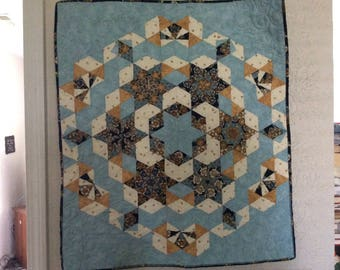 Hand sewn quilted Wall hanging Table mat blue/gold/white