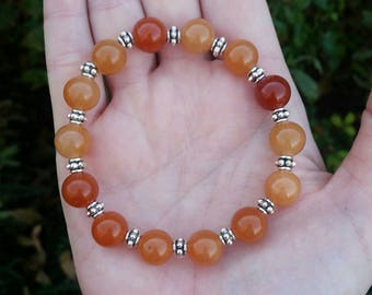 Orange Aventurine bracelet 10mm AAA Quality natural gemstone beads Stretchy Bracelet