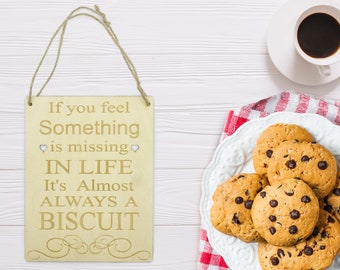Wooden Hanging Inspirational Quote Plaque || Biscuits, Birthday, Present, Cute, Pretty, Magic, Food || Natural Wood