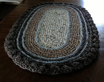 "Oval Crocheted Rag Rug PLUS a Crocheted Fruit Bowl, 46"" X 26"" Handmade Rag Rug, 9"" X 4"" Bowl, Brown, Tan and Cream Rag Rug with Blue Trim"
