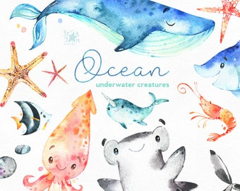 Ocean. Underwater creatures. Watercolor clip art, sharks, whale, stingray, narwhal, starfish, sea, nautical, undersea, marine, babyshower