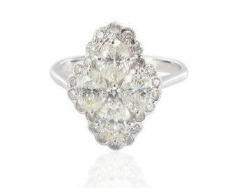 Spirit modern classic 18K White Gold marquise diamond ring