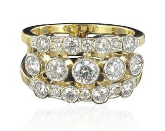 Bague bandeau diamants Or jaune 18K  Platine Moderne