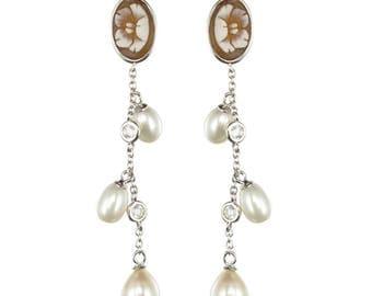 Earrings cameo Vermeil romantic Napoleon III Antique Crystal beads