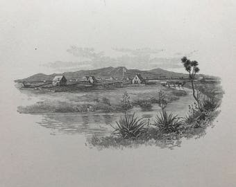 Old Lithograph of New Zealand