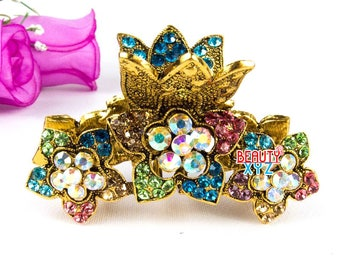 New multi Crystal Metal flowers Hair Claws Pins Clips