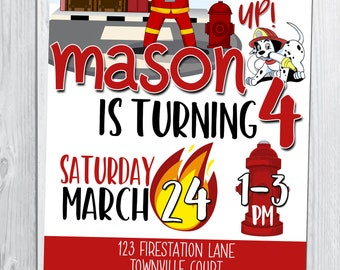 Fire Station Themed Birthday Invitation