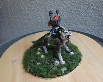 Legend of Zelda: Wolf Link and Midna 17cm tall figurine with 20cm base. Handmade.