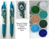 Peacock Feather by Phoenix Wolf Designs beaded pen kit (pattern sold separately)