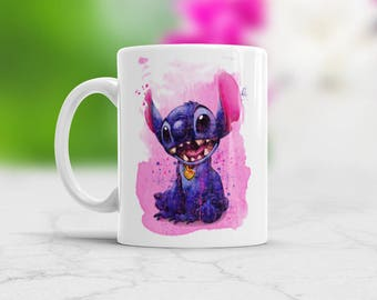 Awesome Watercolor Art Mug Stitch cup Gift for daughter for son Gift for friend Birthday Gift