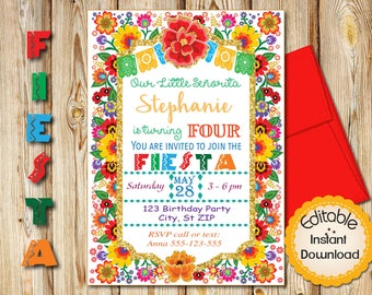 "Fourth  Birthday Invitation, Mexican Fiesta Flowers, INSTANT download, EDITABLE in Adobe Reader, DIY, Printable, 5""x7"" each"